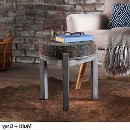 Dashiell Round Fabric Ottoman Stool by Christopher Knight Gr