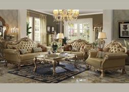 Acme Furniture Dresden Gold Patina Sofa and Loveseat Living