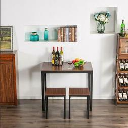Durable 3 Piece Dining Table Set Counter Height Table 2 Chai