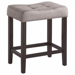 Espresso Backless Counter Stool with Grey Fabric Seat by Coa