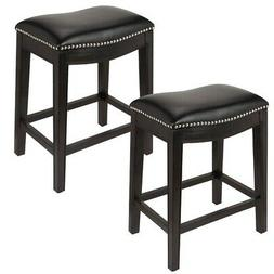 Homegear Faux Leather Backless Metal-Stud Bar Stools, Set of