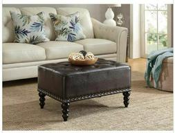 Faux Leather Ottoman Nail Trim Living Room Furniture Footres