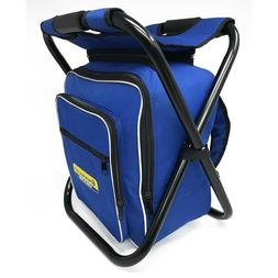 Folding Stool Insulated Cooler Bag Backpack Chair Picnic Fis