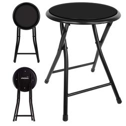 Folding Stool Round Black 18 Inch Collapsible Padded Seat 30