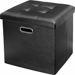 Greenco Faux Leather, Tufted, Ottoman Stool Seat and Foot Re