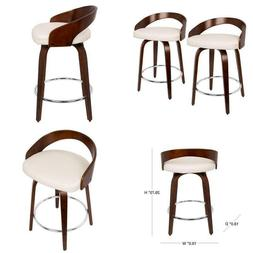 Grotto 24 In. Cherry And White Faux Leather Counter Stool