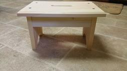 Hand crafted solid wood step stool with black dowels unfinis
