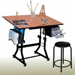 Home Drafting Table Round Stool Hobby Sewing Desk Art Drawin