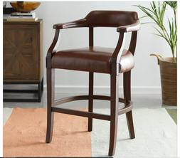 """Kitchen Counter Bar Stool Faux Leather Back Modern 26"""" Brown"""