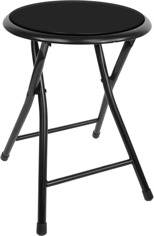 18in round folding stool foldable cushioned seat