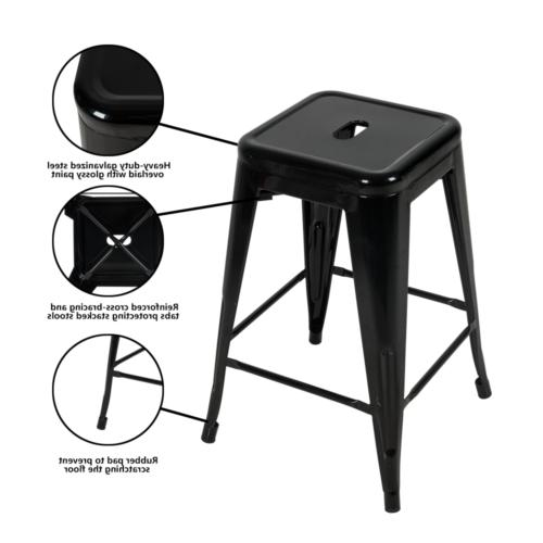 24 Stools Set of Patio Stackable Counter Barstools