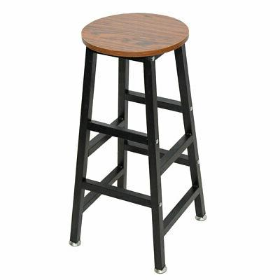 1 Pack Wooden Round Bar Stool Vintage Pub Seat Retro Metal F