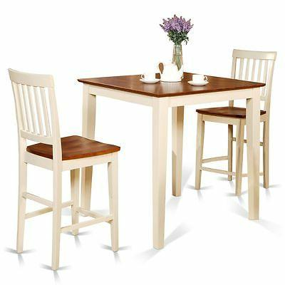 3pc counter height pub set table + 2 bar stool wood chairs i