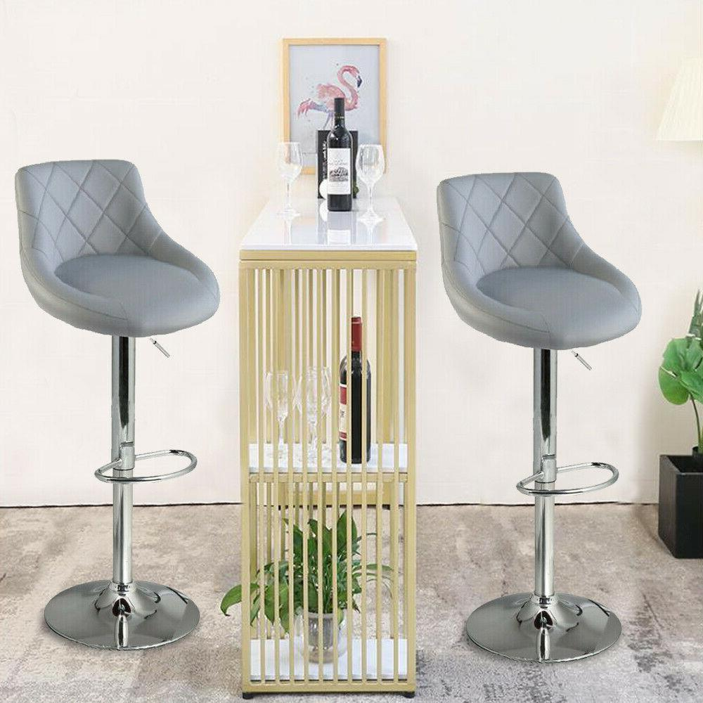 Adjustable Set of 2 Counter Height PU Leather Bar Stools Swi