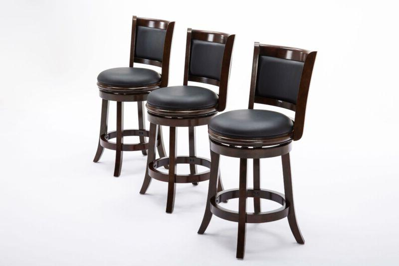 Cushioned Counter Stool Solid Hardwood Espresso New