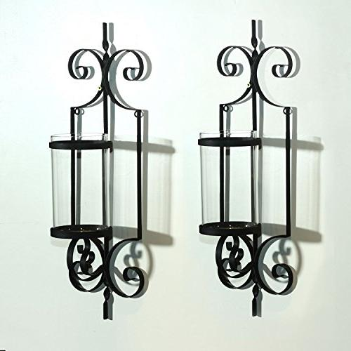 Adeco HD0018 Iron Vertical Wall Candle Sconce, One Candle Each Black