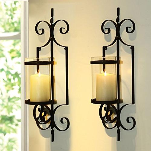 Adeco Brown Vertical Hanging Accents Candle Holder Sconce, One Candle Black