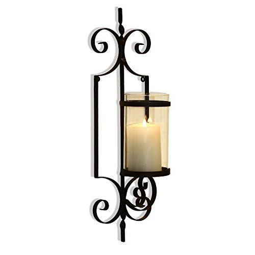 Adeco Brown Iron Vertical Accents Candle One Pillar Candle Black with Antique