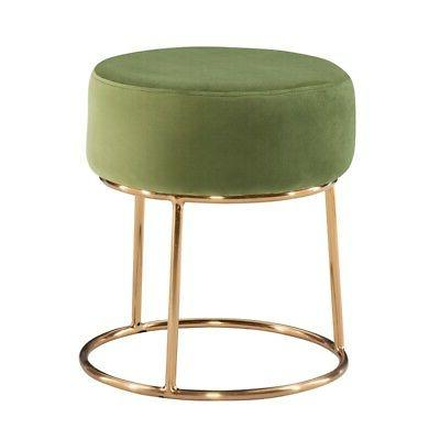 carly metal accent vanity stool in green