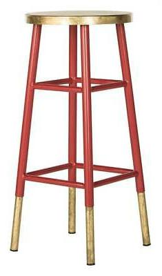 Emery Dipped Leaf Bar Stool in Red and Gold Finish