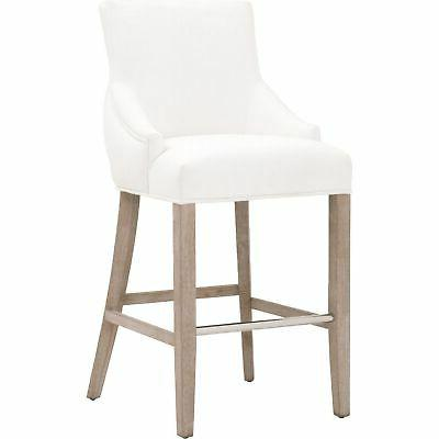 fabric bar stool with sloped armrests