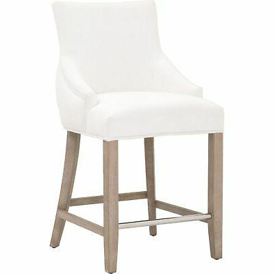 fabric counter height stool with sloped armrests