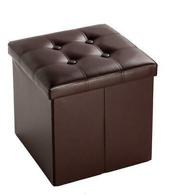 Foldable Faux Leather Storage Ottoman Square Cube Foot Rest