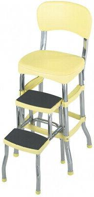 Folding Step Stool Kitchen Office Home Chair Back Retro 2 Pl