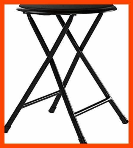 Folding Stool Duty Collapsible Round 300 Capacity Black