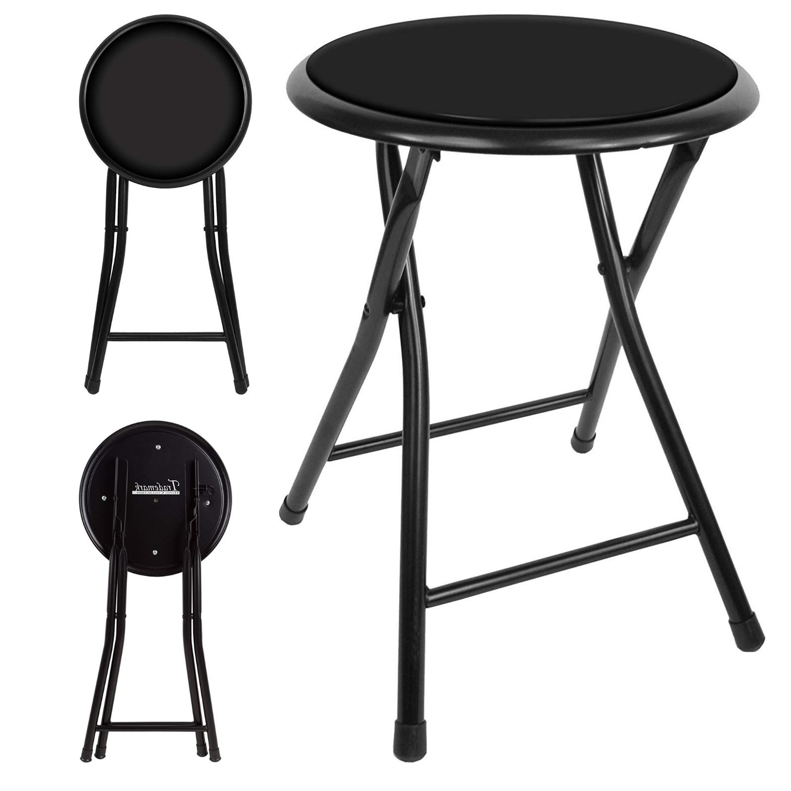 folding stool round black 18 inch collapsible