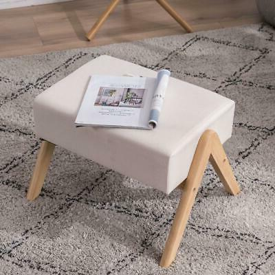 Footstool Strong Pine Wood Legs Chair Stool Padded US