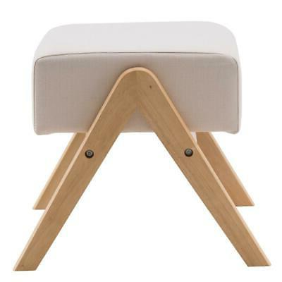 Footstool Rectangle Strong Wood Stool Padded US