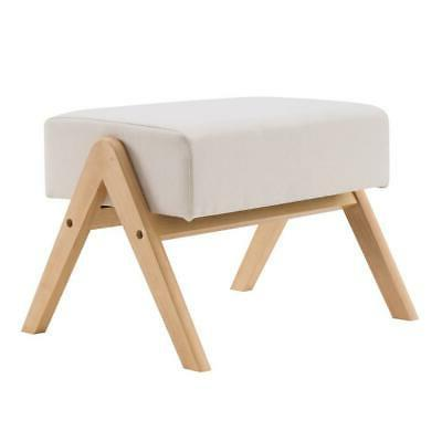 Footstool Strong Wood Chair Stool Fabric Padded Seat