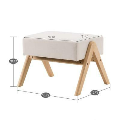 footstool rectangle strong pine wood legs chair