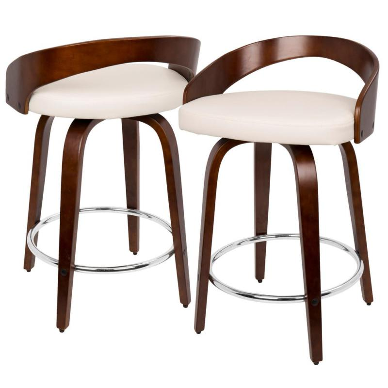 Grotto 24 And White Faux Counter Stool
