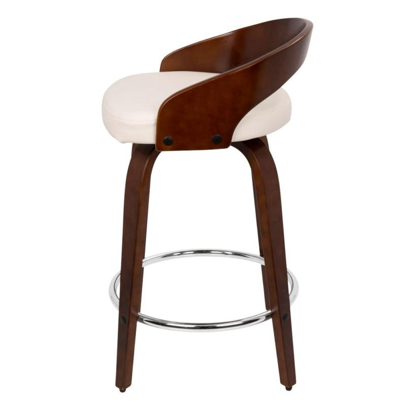 Grotto In. And White Faux Leather Counter Stool