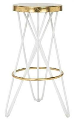 Lorna Leaf Bar Stool in White and Gold Finish