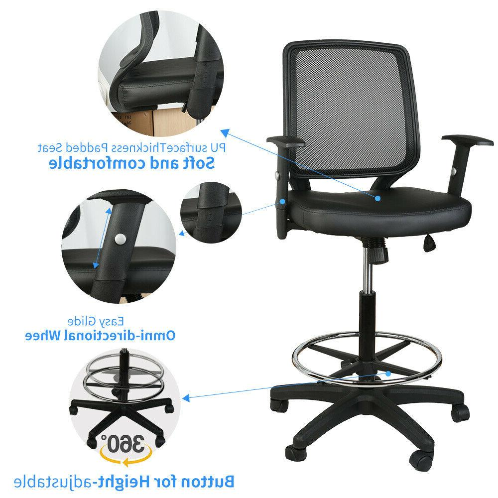 Mid Back Office Drafting Counter High Stools Black