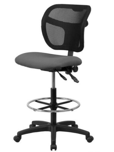 mid back mesh drafting stool with gray