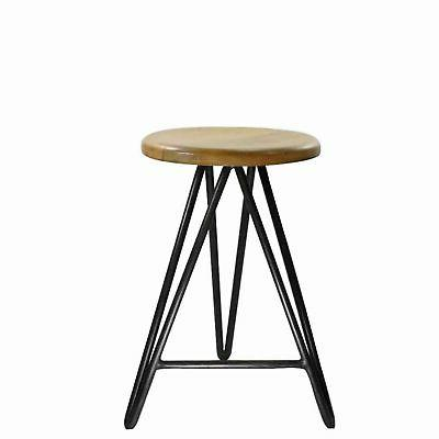 round wooden counter stool with hairpin legs
