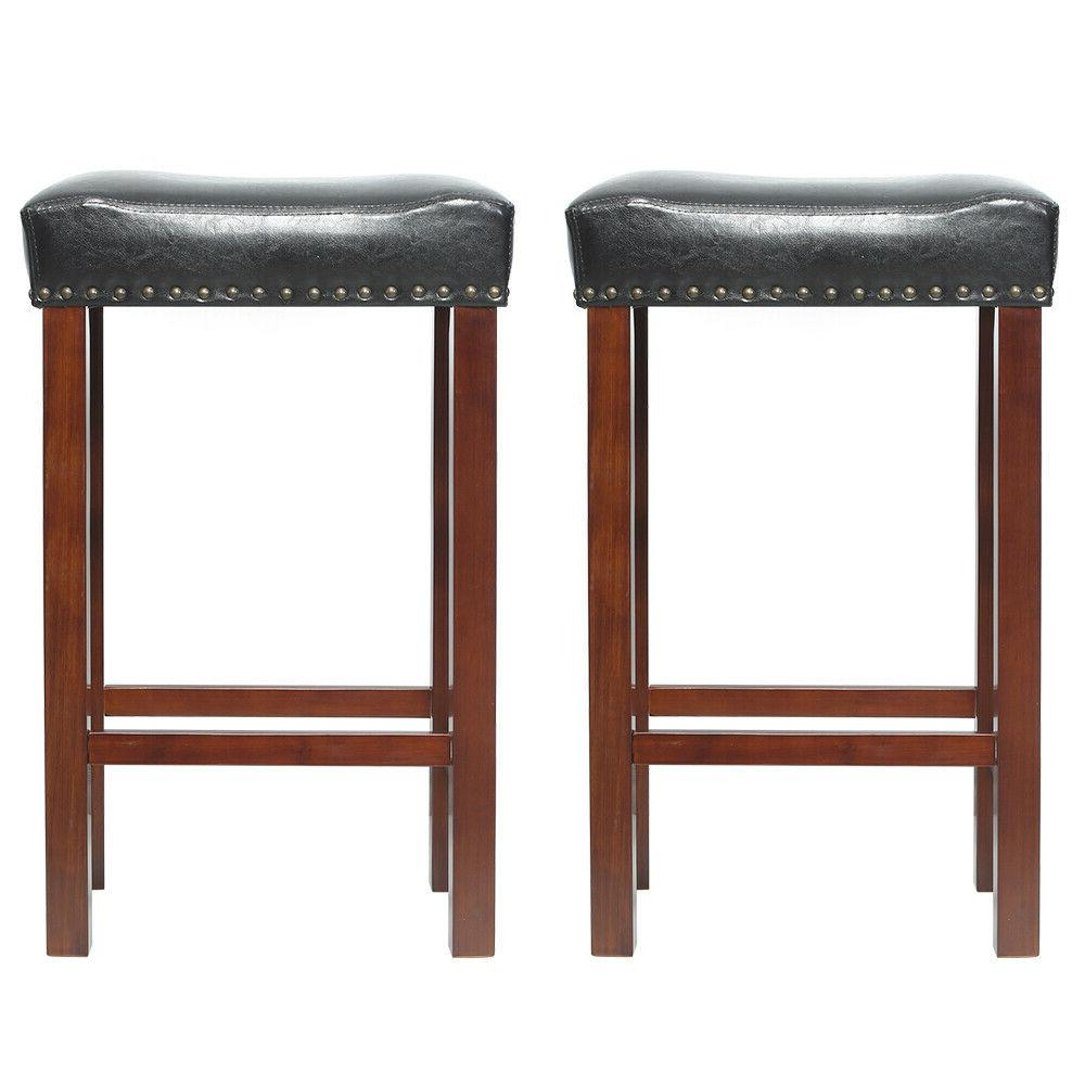 Set of 2 Bar Stool Wood Legs Padded Cushion Seat Dining Pub