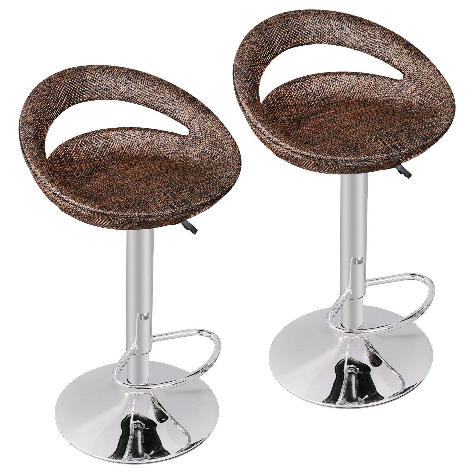 Set of 2 Adjustable Modern Pub Hydraulic Swivel Wicker Bar S