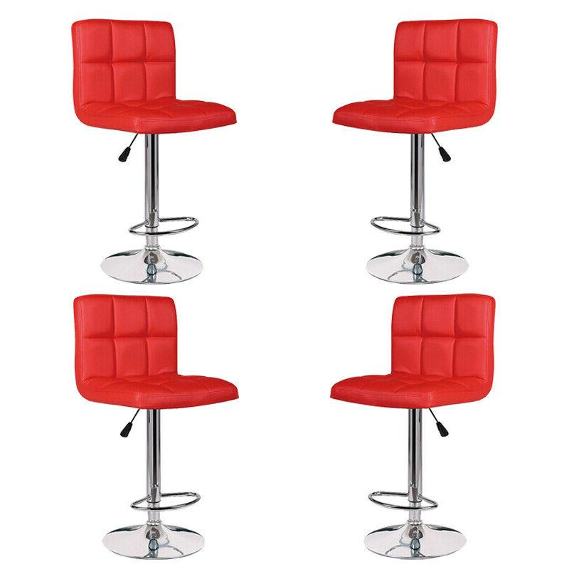 Set of 4 Bar Stools Leather Adjustable Swivel Pub Chairs Cou