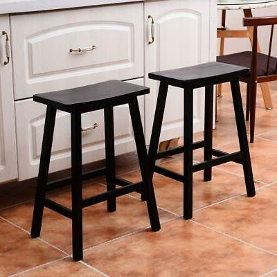 Set of 2 Bar Stools Saddle Seat Pub Chairs w/ Footrest Retro