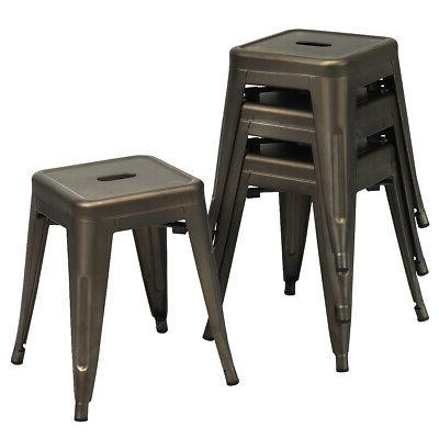 """4 PCs Industrial Metal Stool Seat 18"""" Height Backless Barsto"""