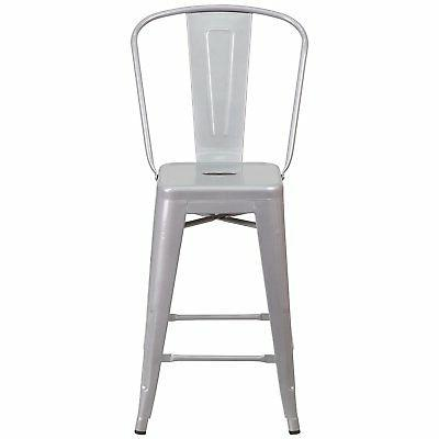 Set Modern Height Style Stools w/ Back Silver