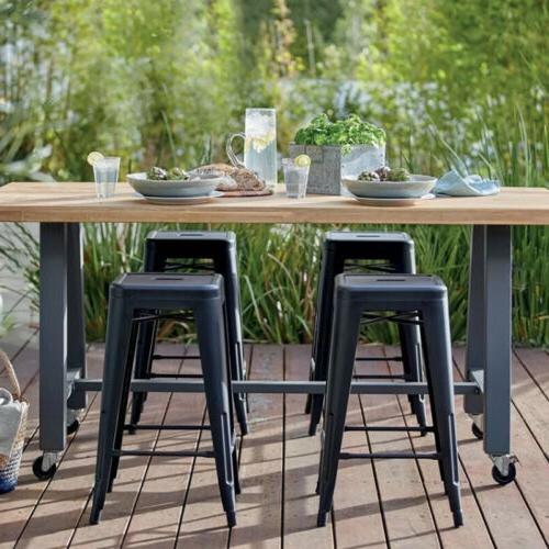 Set inch Metal Counter Height Stools Black