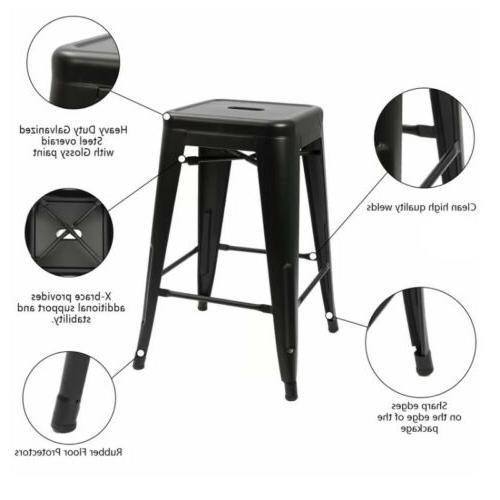 Set of 24 inch Metal Barstools Stackable Counter Chair Stools
