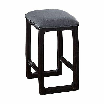 wooden counter height stool with fabric upholstered