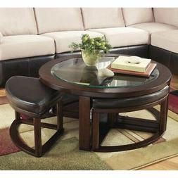Ashley Marion Coffee Table with 4 Stools in Dark Brown